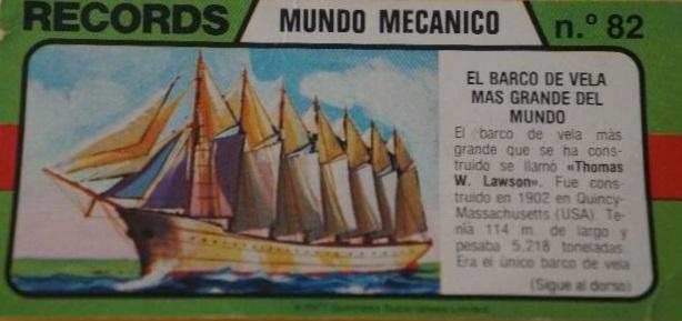 Cromo ficha de los records - barco de vela más grande - editado por Bimbo